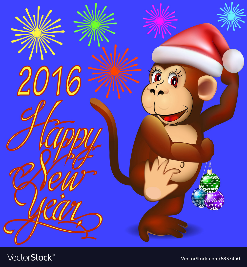 Holiday card with a dancing monkey a vector image