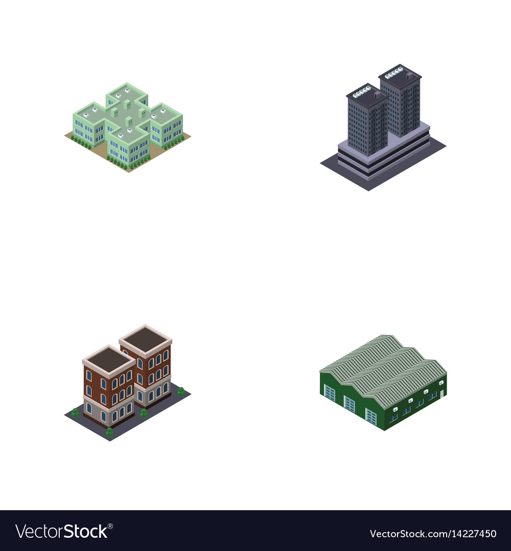 Isometric architecture set of clinic warehouse vector image