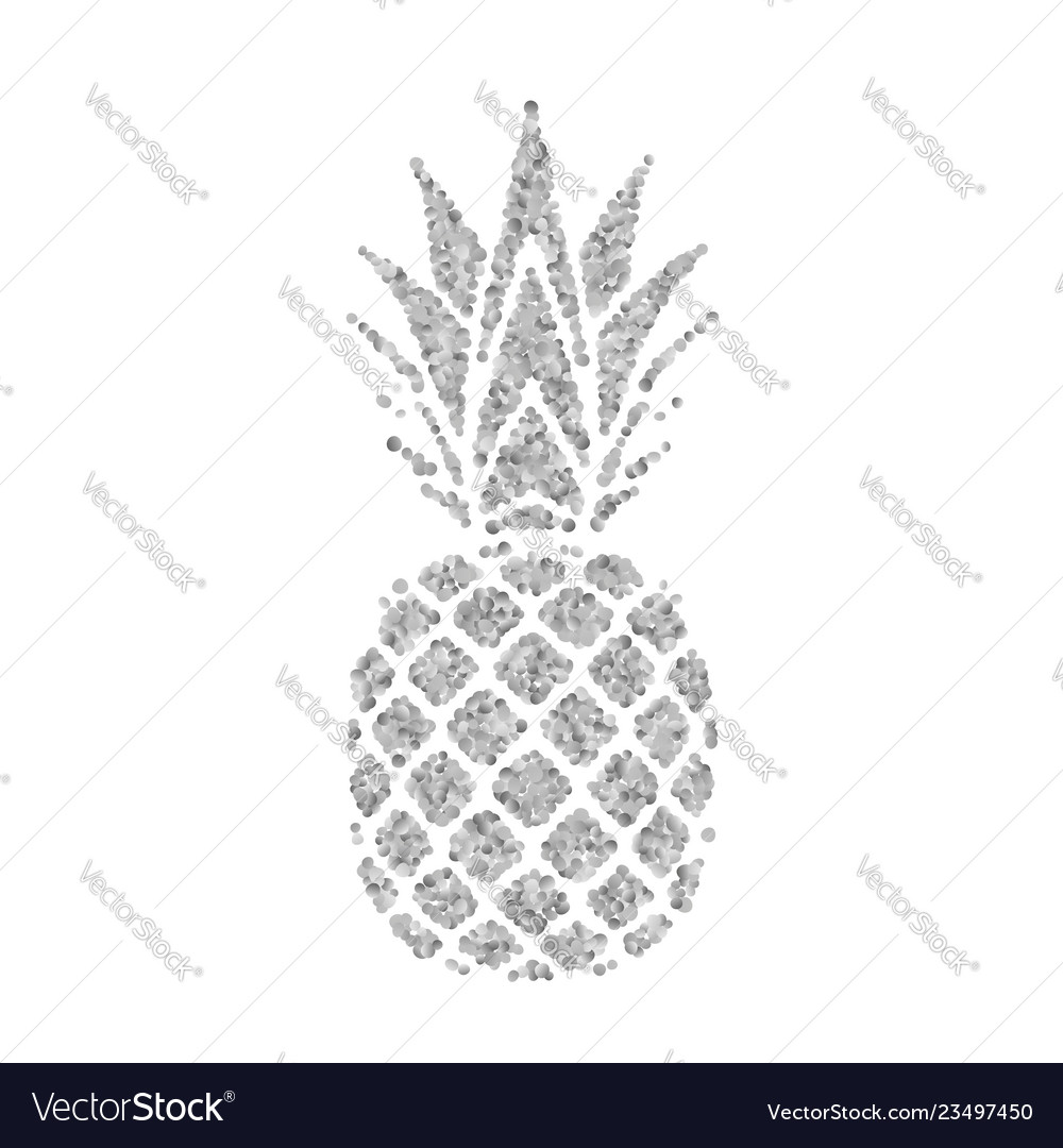 Pineapple with leaf tropical silver exotic fruit