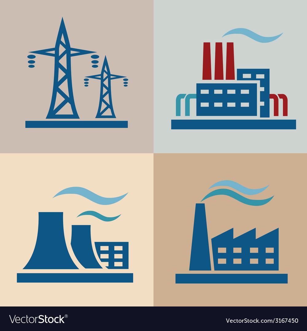 Power plant electrisity icons set