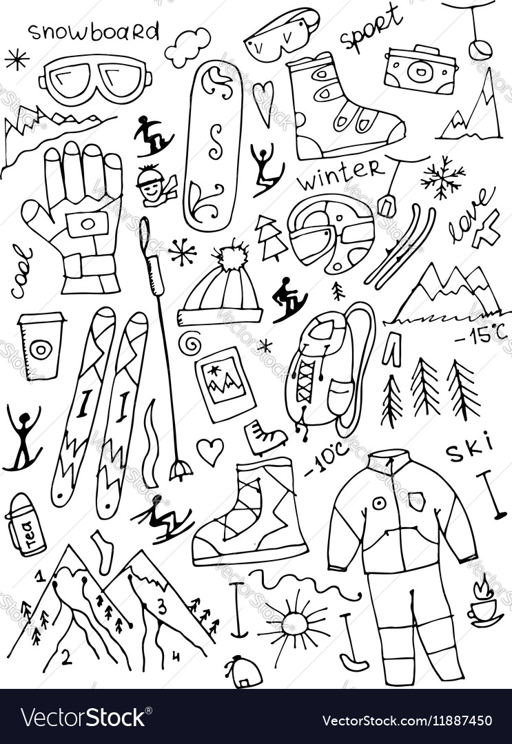 Skiing collection sketch for your design vector image