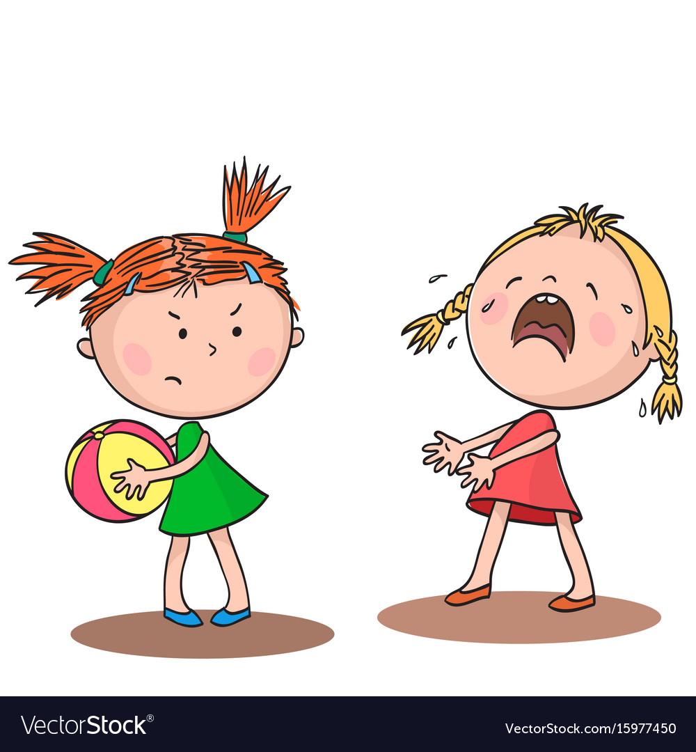 Two little girls quarrel over a toy Royalty Free Vector