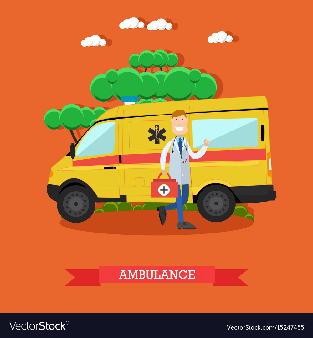 Ambulance concept in flat