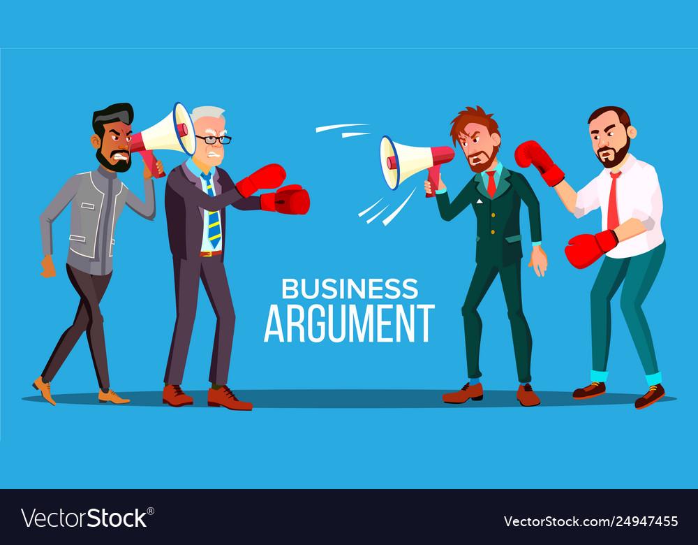 Business argument web banner cartoon