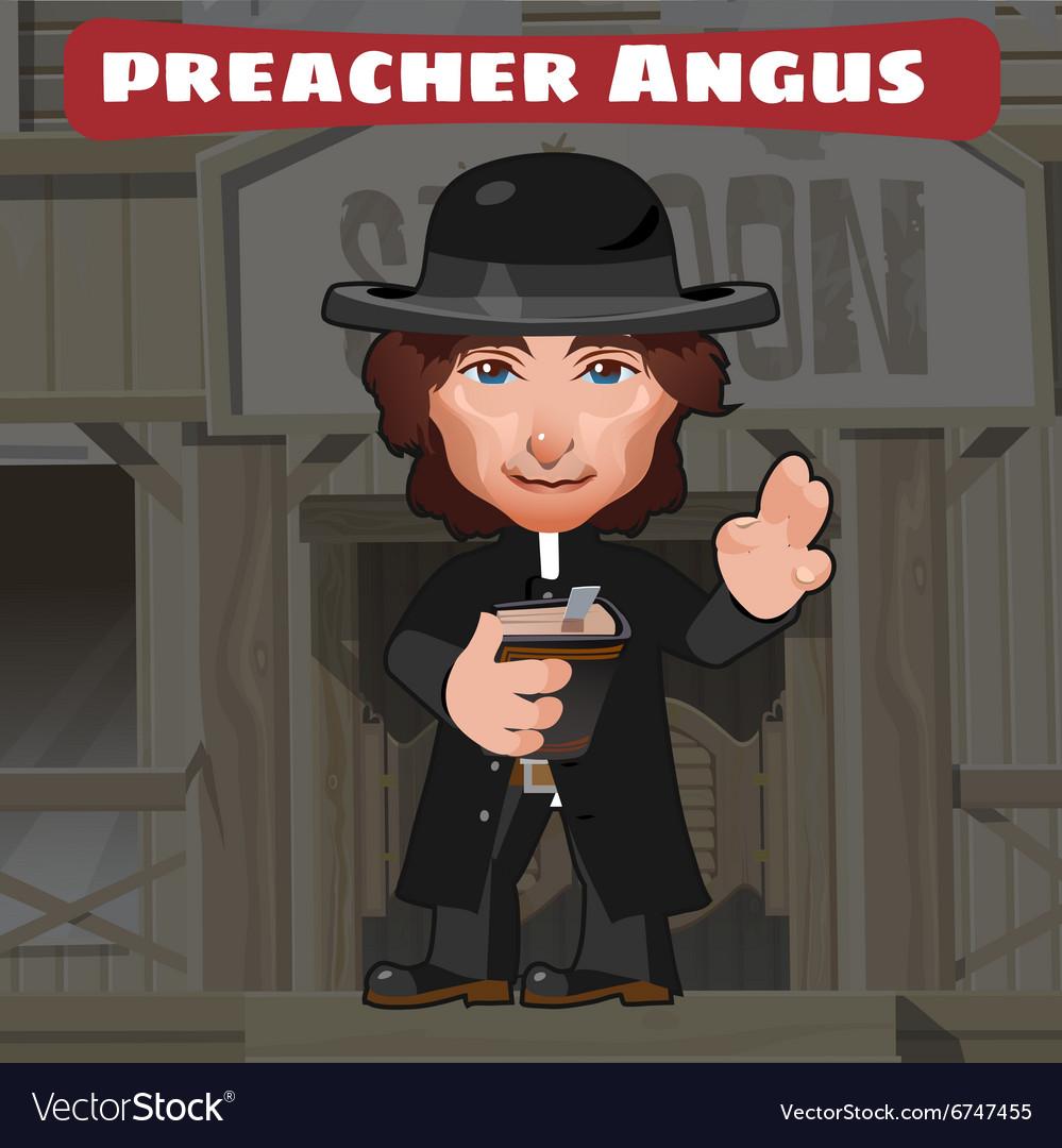 Cartoon character in Wild West - preacher Angus