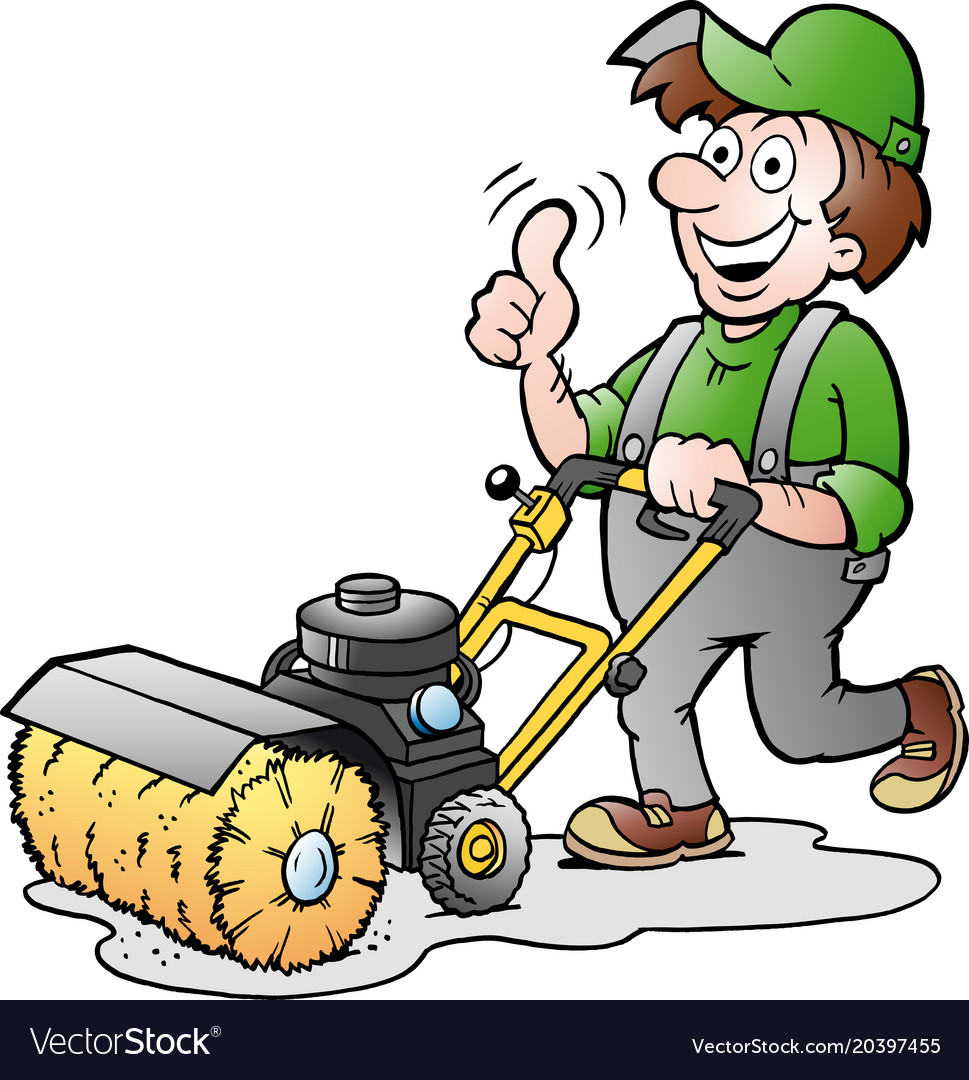 Cartoon of a happy gardener with his sweeping Vector Image
