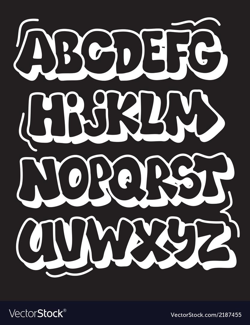 Comics graffiti style font type alphabet vector image