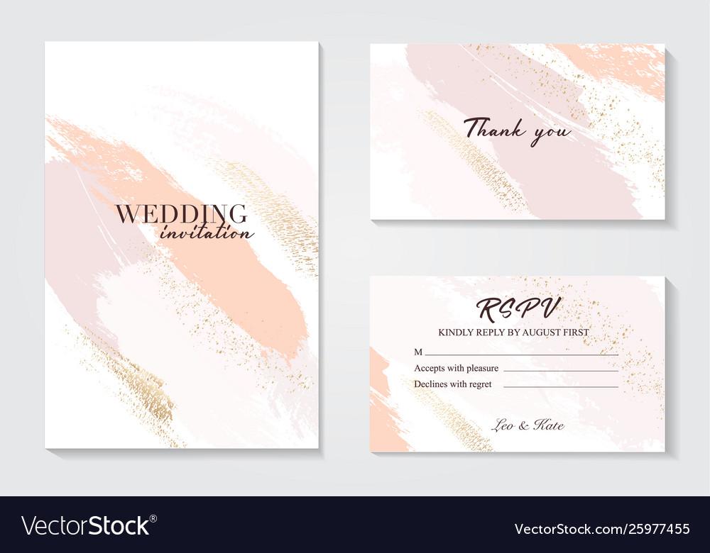Coral gold greeting brush strokes wedding