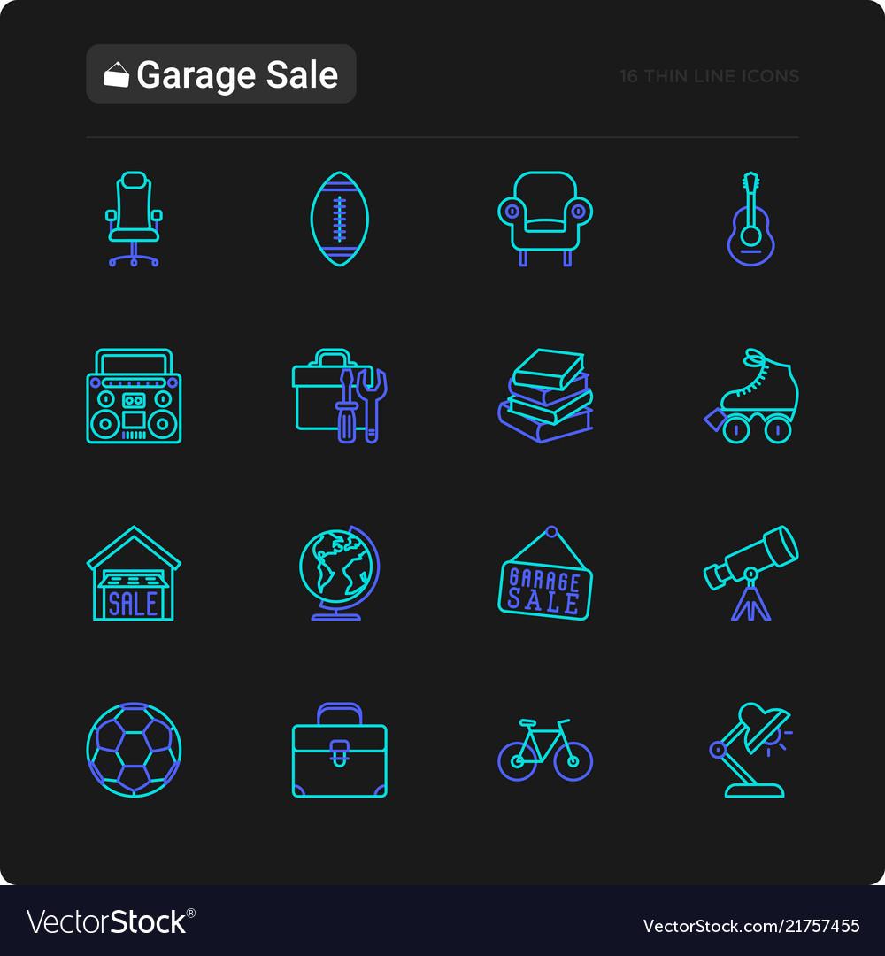 Garage sale thin line icons set