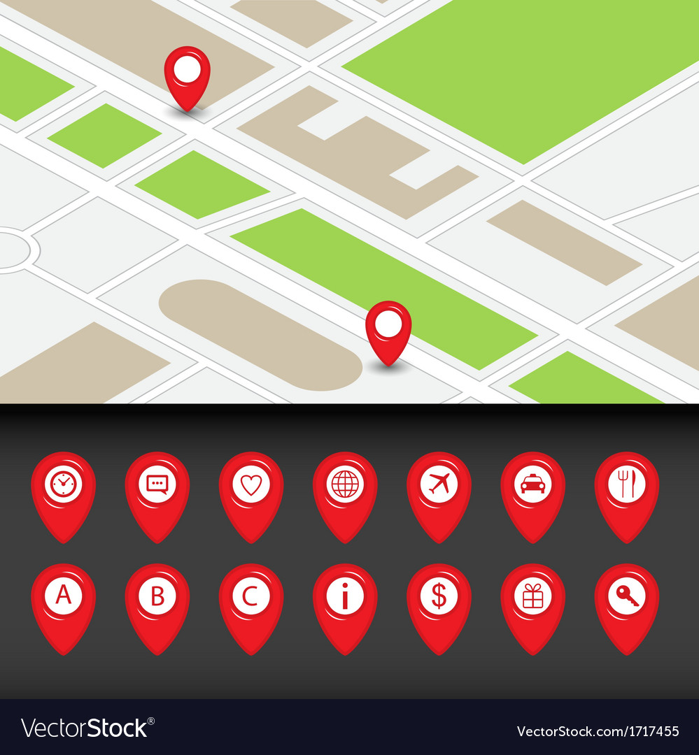Map with navigation icons