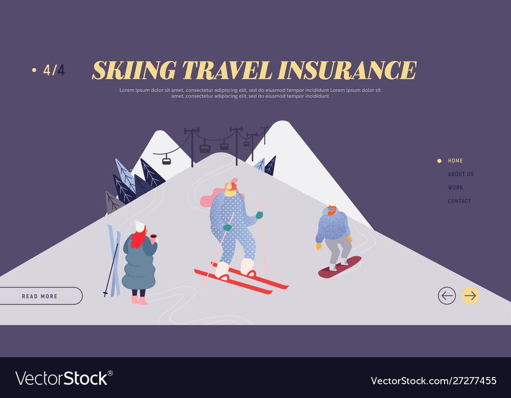 People skiing snowboarding website landing page