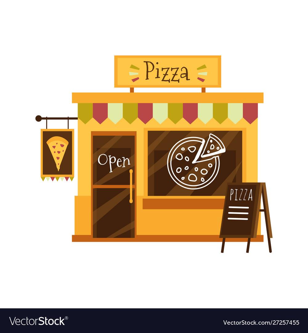 Pizza shop building or pizzeria facade flat