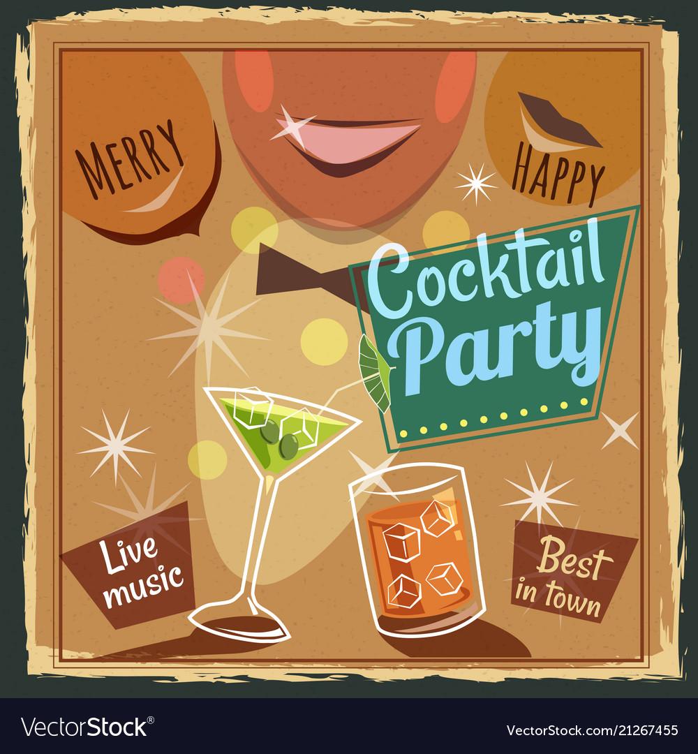Retro poster design for cocktailbar vintage