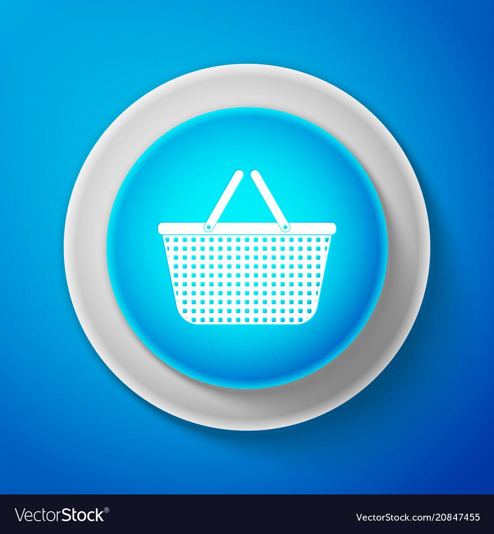 Shopping basket icon isolated on blue background