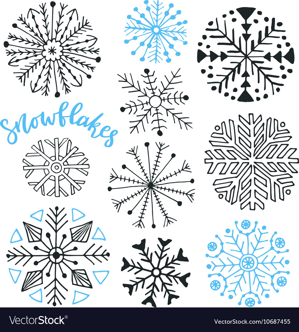 Snowflakes hand drawn collection Winter