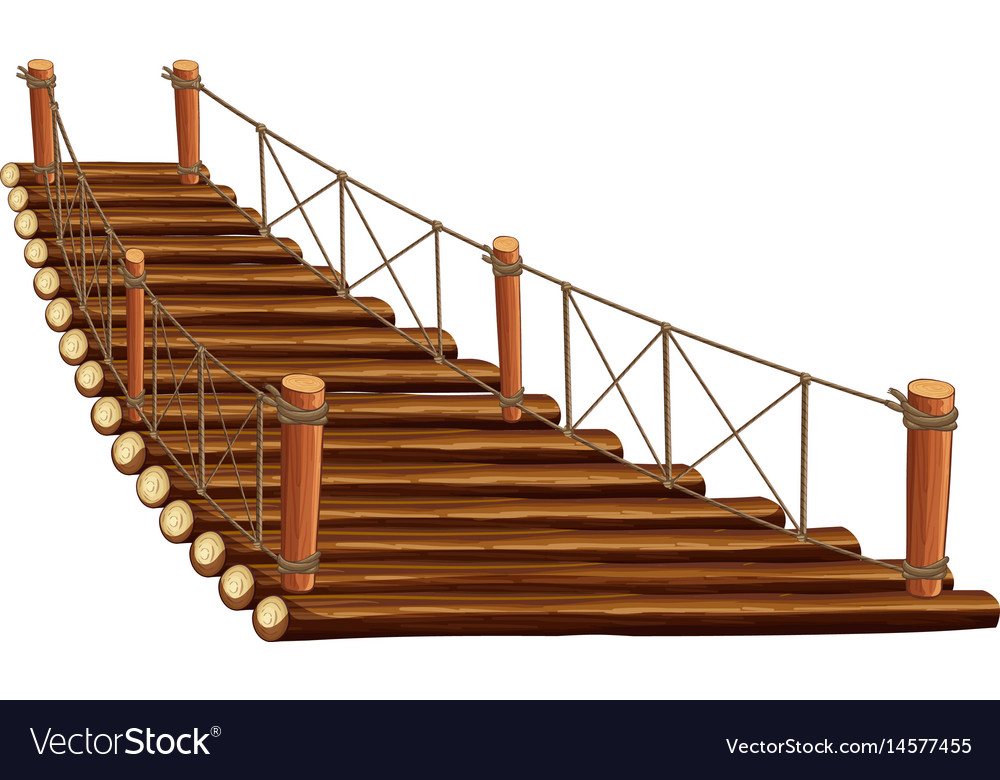 Wooden bridge with rope vector image