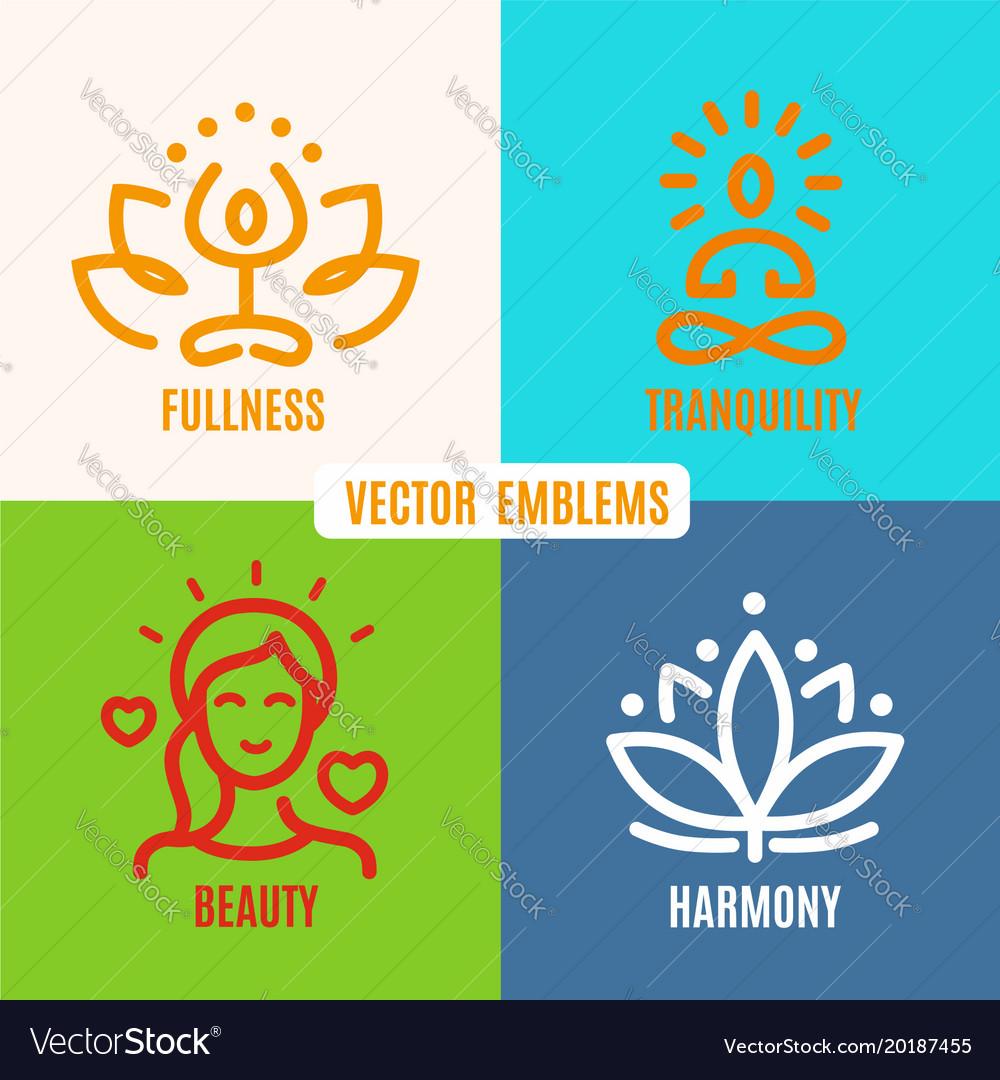 Yoga icons line badges