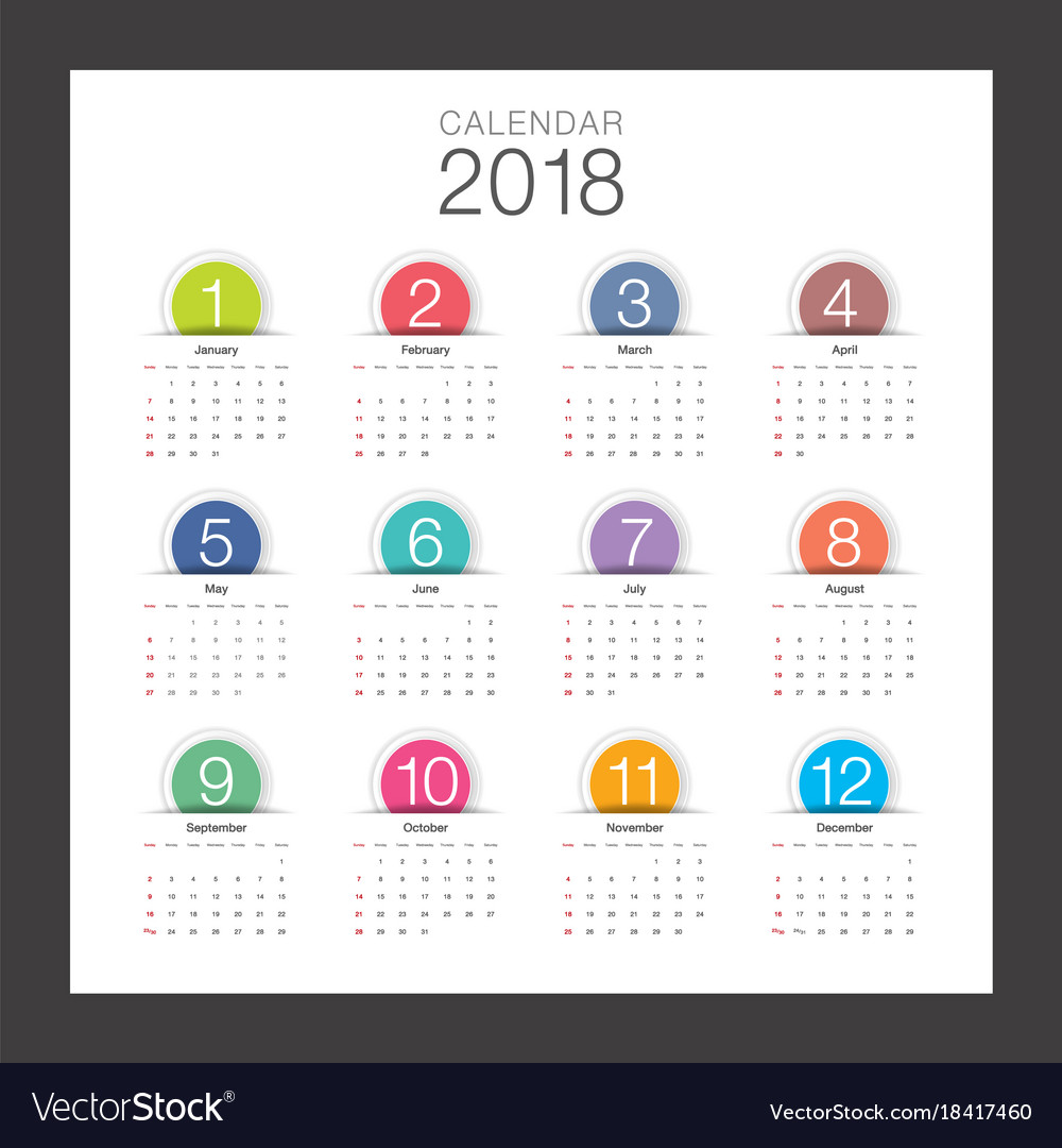 2018 calendar minimal desk calendar colorful