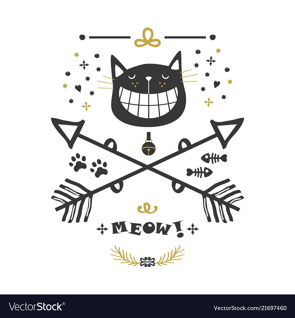 Black and golden hand drawn cute cat and arrows