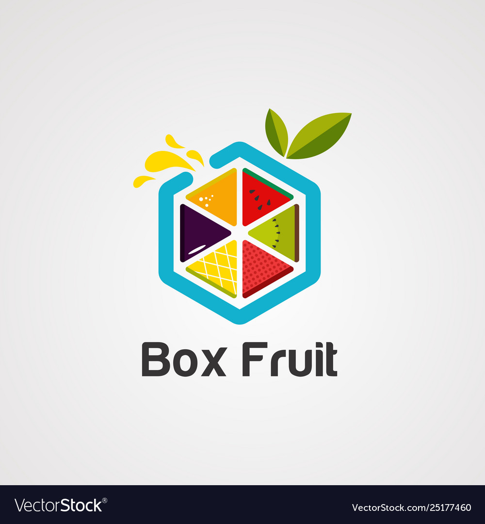 Box fruit colorful logo icon element and
