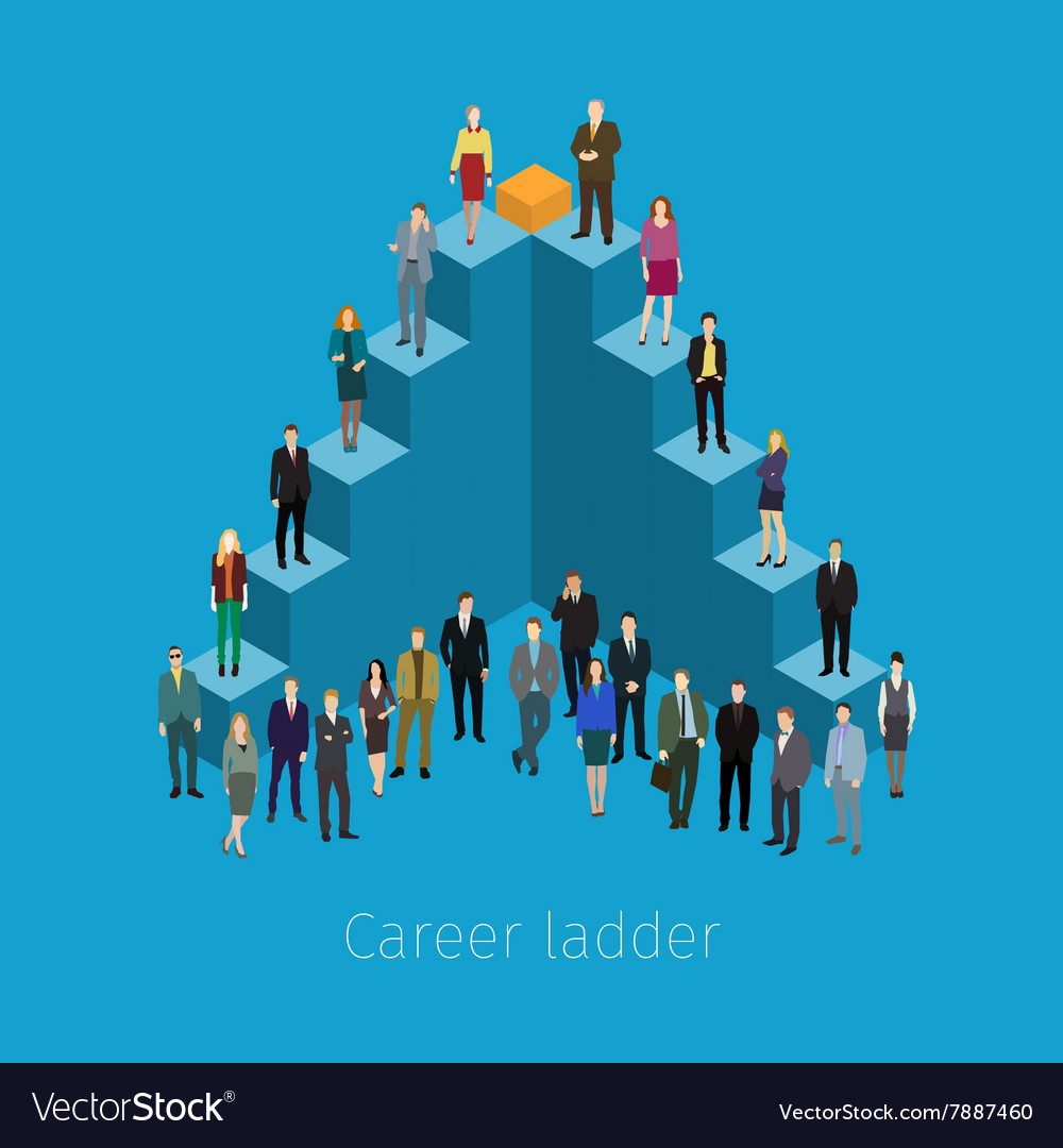 Career ladder with people