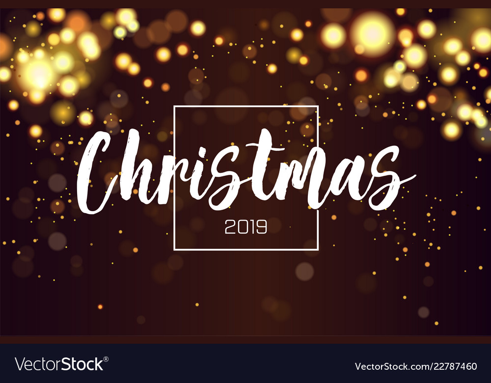 Christmas background 2019 with golden magic bokeh