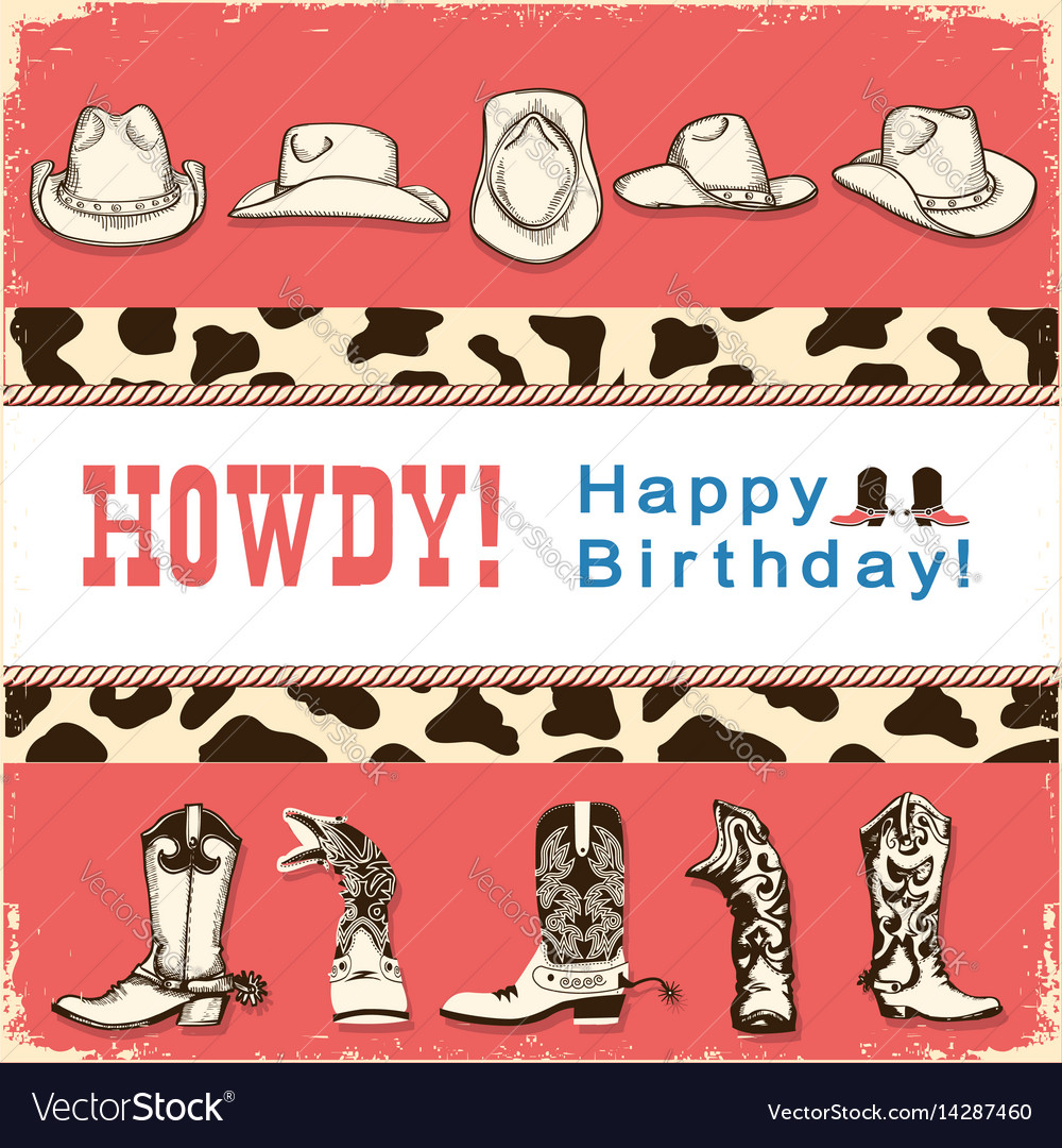 Cowboy happy birthday card with western hats and vector image