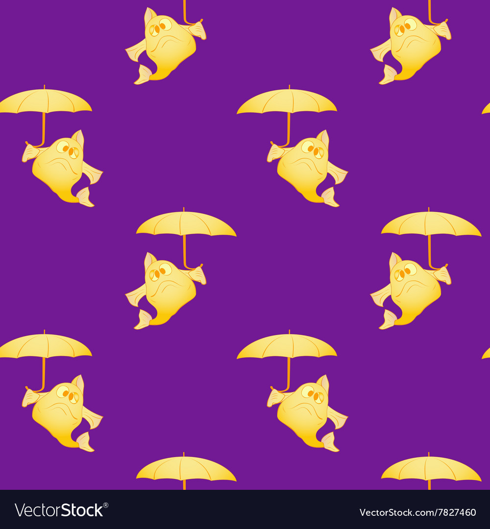 Fish with umbrella seamless pattern