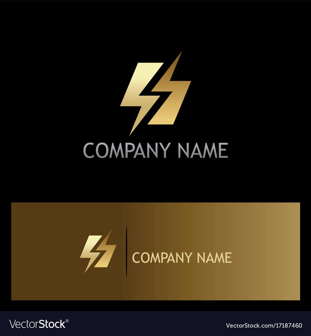 Gold bolt letter s gold logo