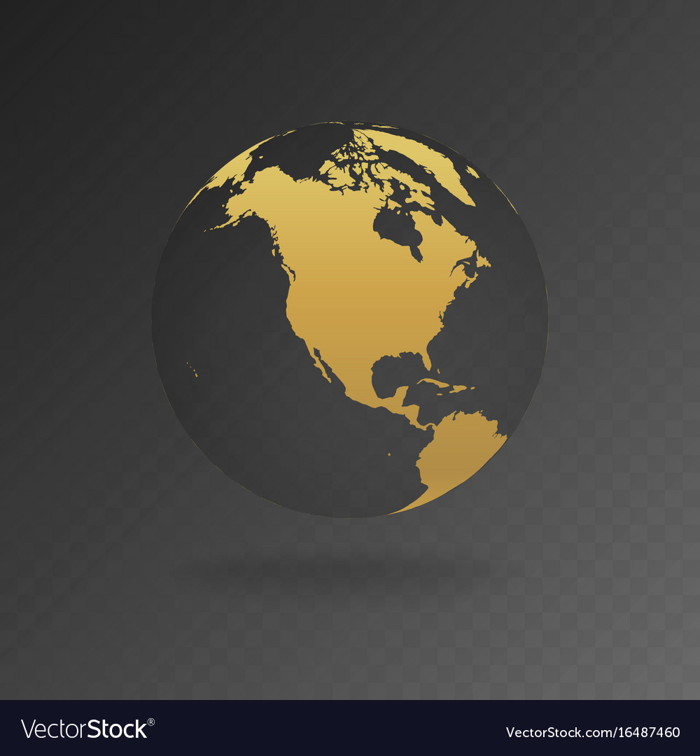 Gold globe icons with different continents