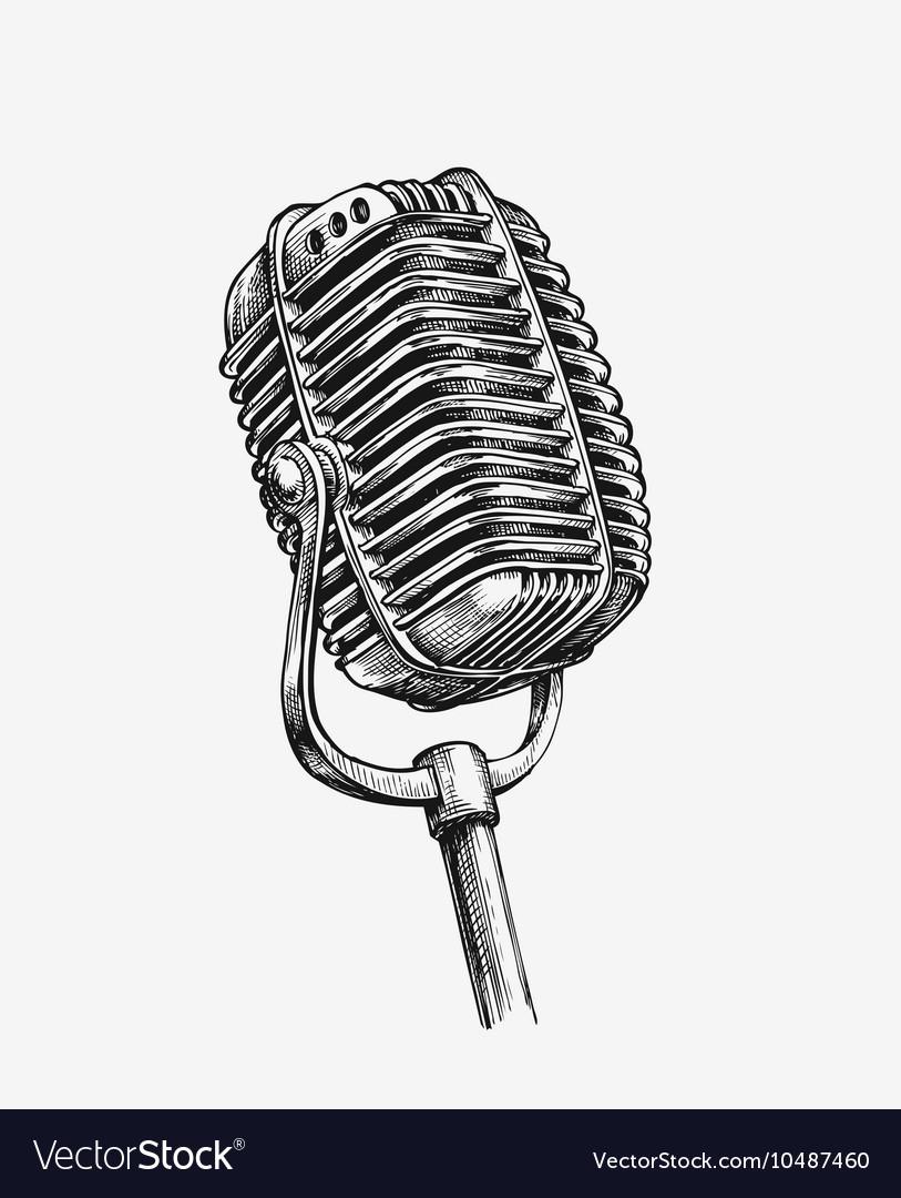 Hand-drawn vintage microphone Sketch karaoke vector image