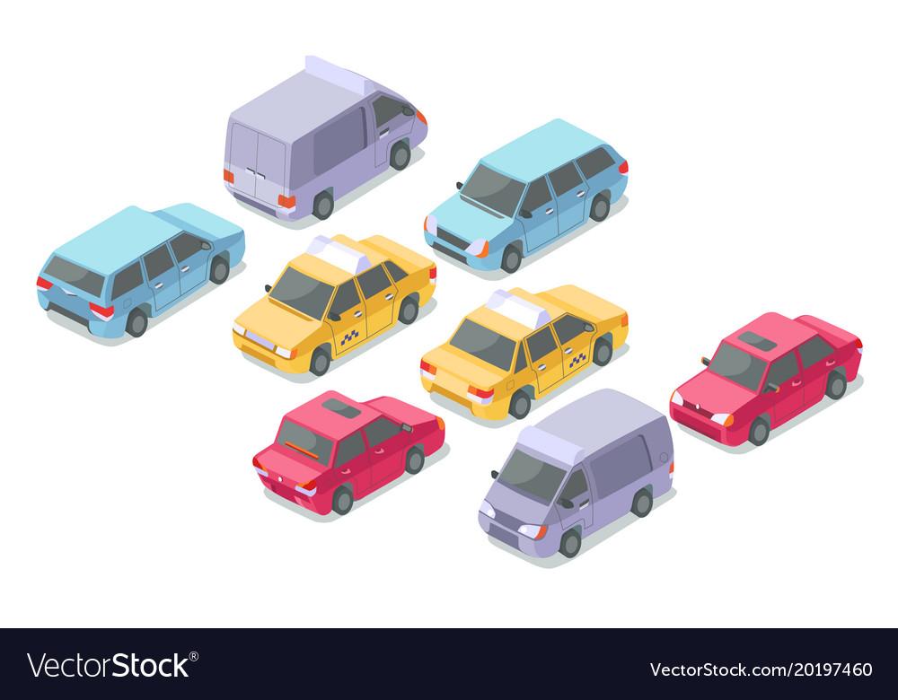 Isometric cars isolated icons