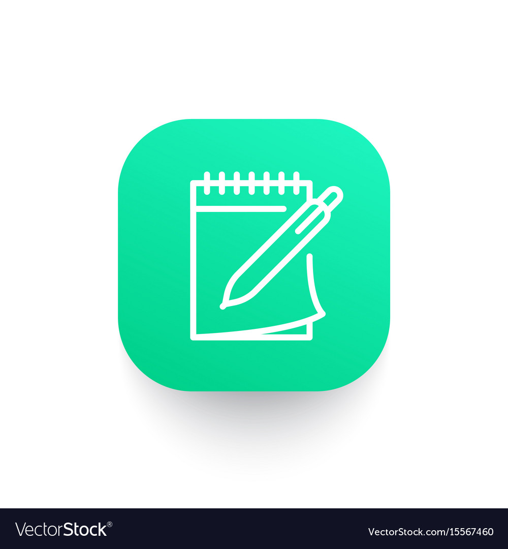 Notebook and pen icon in linear style