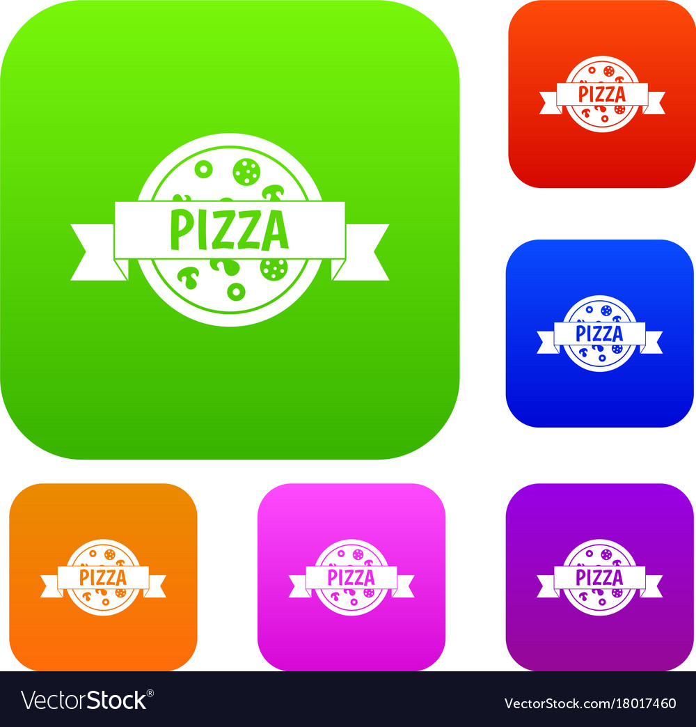 Pizza label with ribbon set color collection