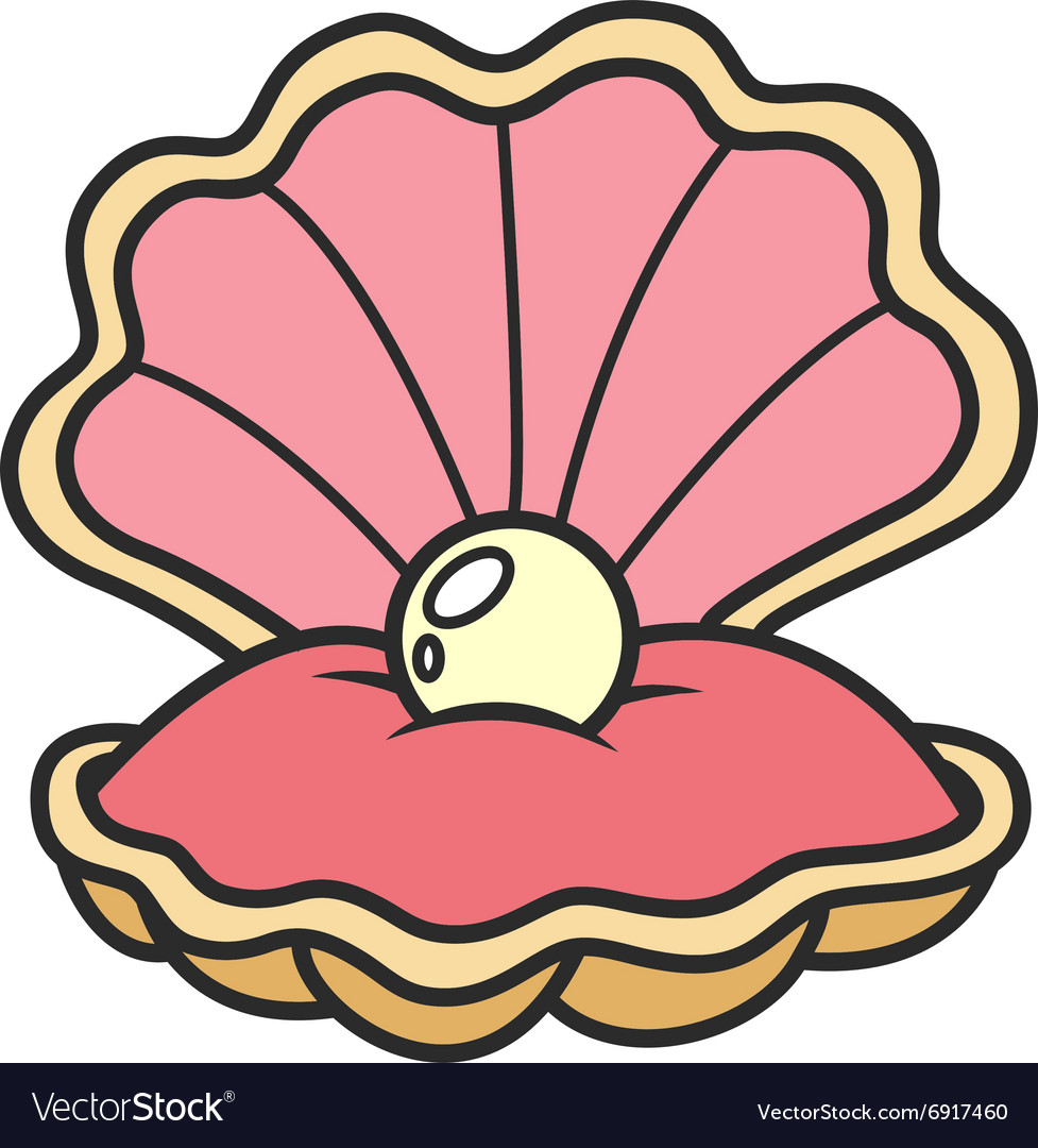 Scallop seashell with pearl Royalty Free Vector Image