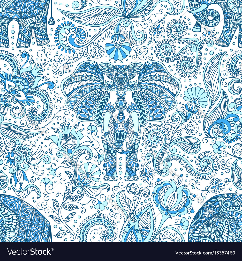 Seamless pattern with blue indian elephant