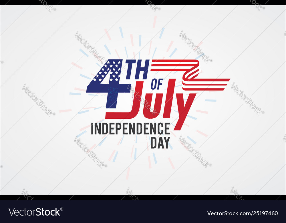 Typography 4th july greeting card independence