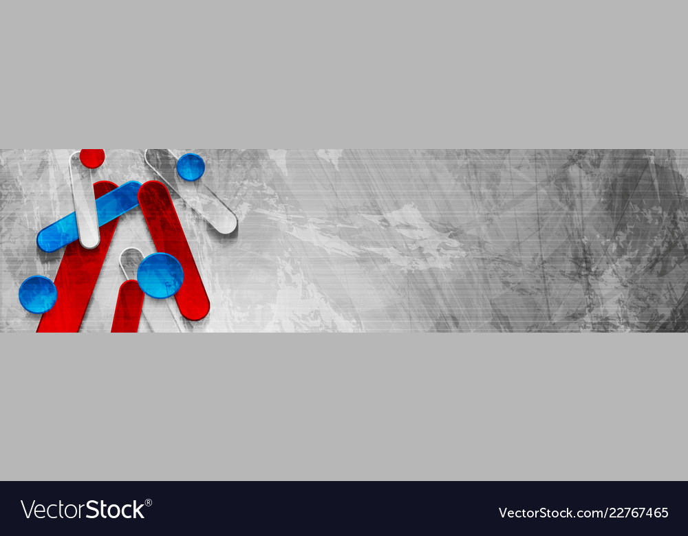 Abstract grunge tech geometric banner design