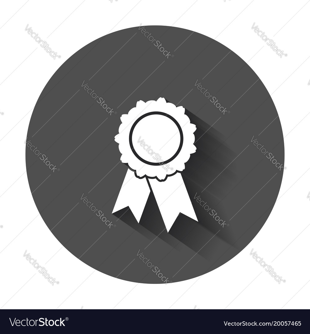 Badge with ribbon icon in flat style with long vector image