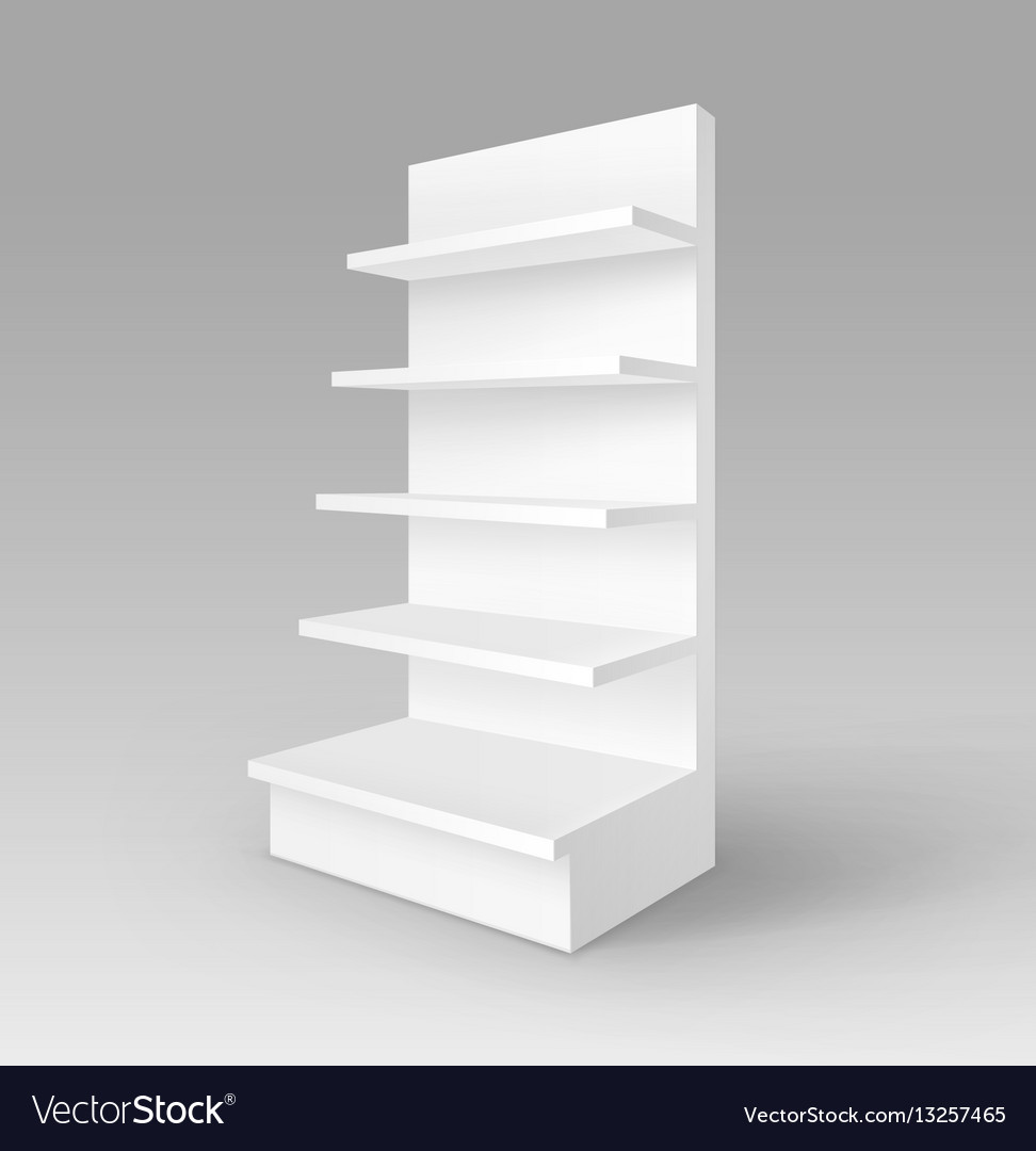 Exhibition Stand Shelves : Blank exhibition stand shop rack with shelves vector image