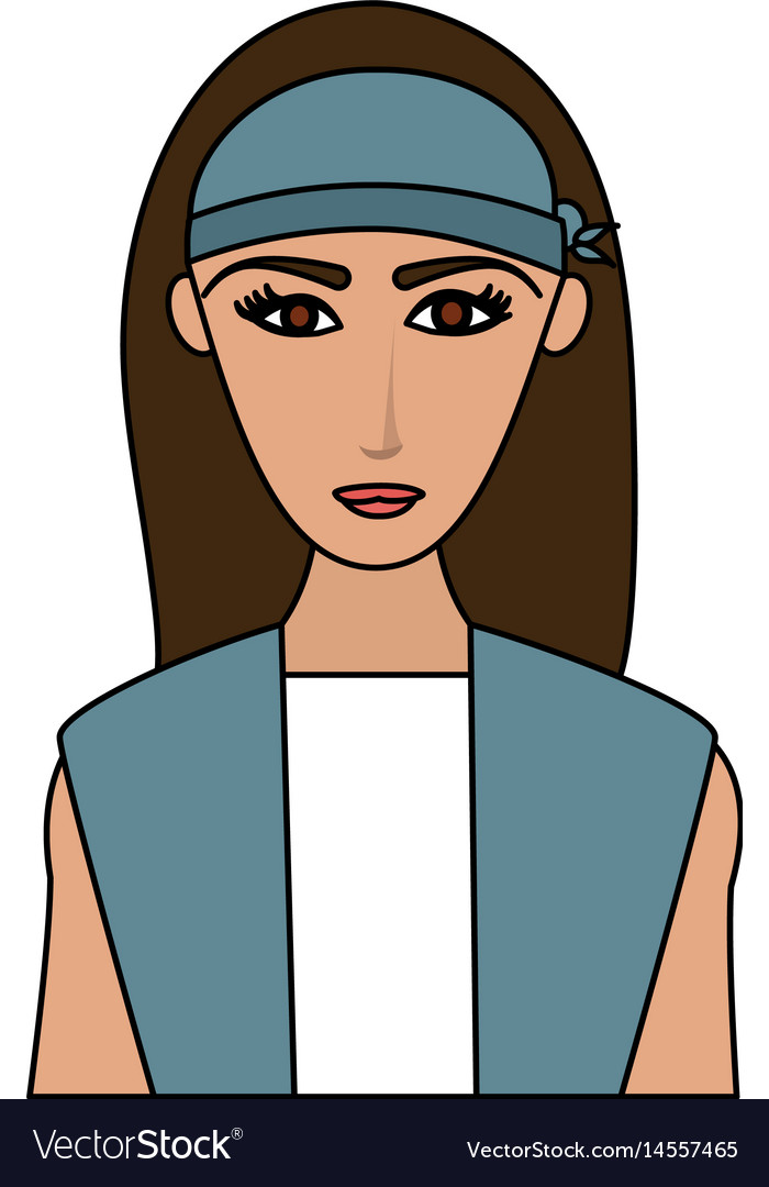 Color image cartoon half body woman with long hair
