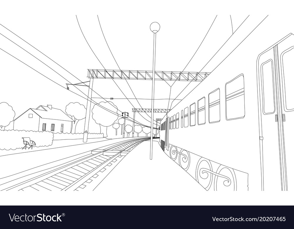 Coloring book the train on the platform Royalty Free Vector