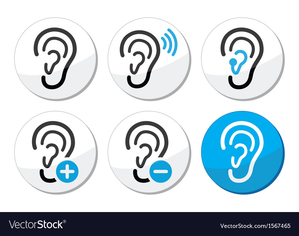 Ear hearing aid deaf problem icons set Royalty Free Vector