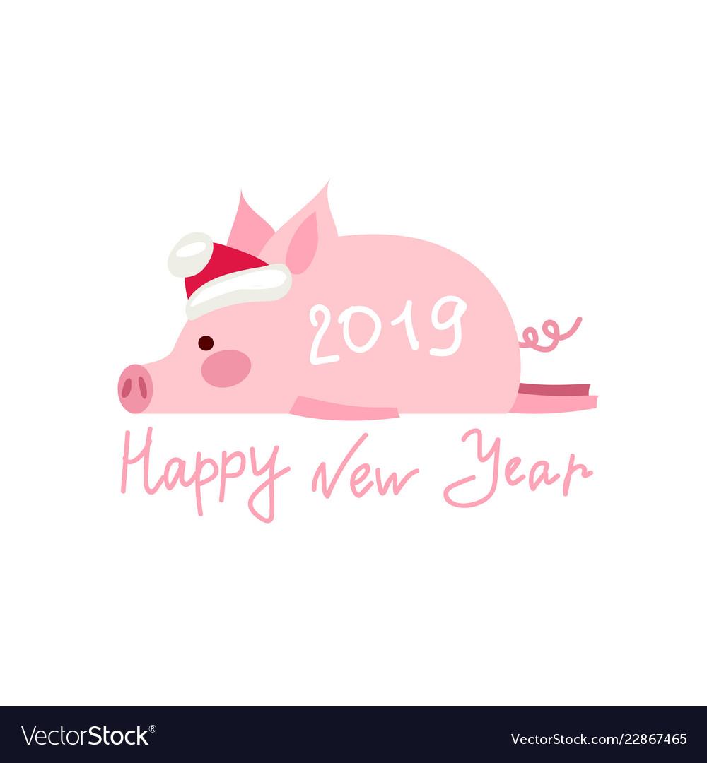 Funny card design with cartoon pig