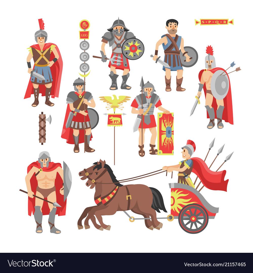 Gladiator roman warrior man character in