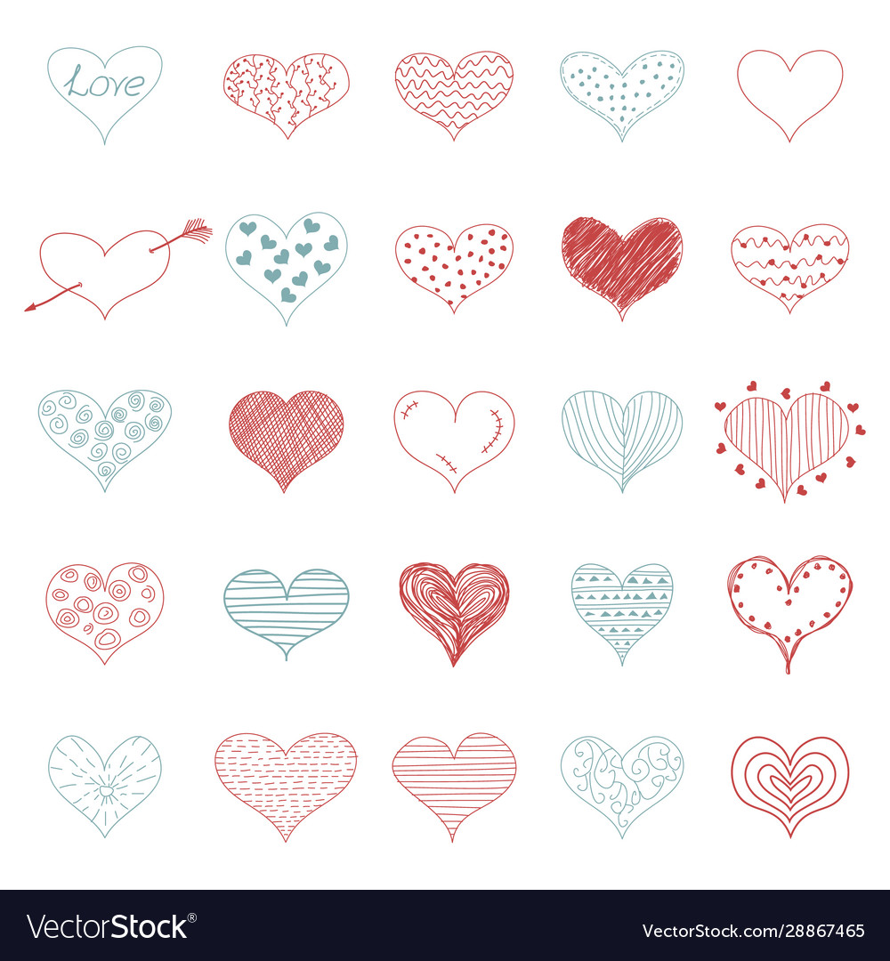 Romantic love doodle hearts retro sketch icons set