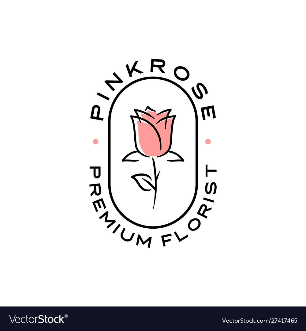 Rose logo flower emblem badges icon