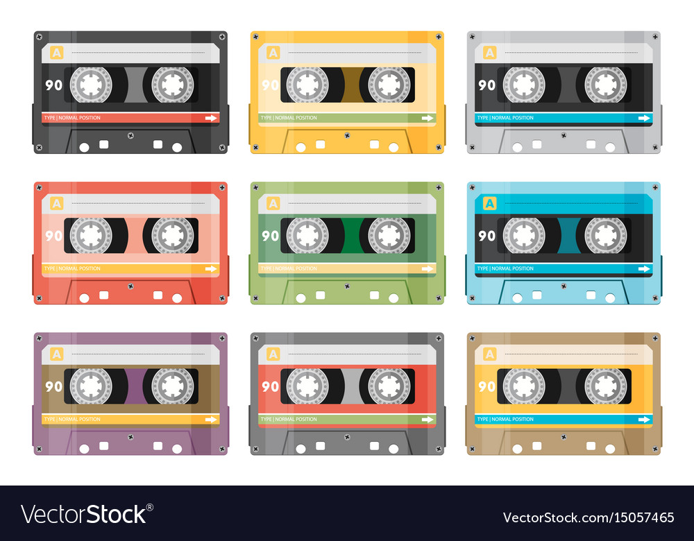 Set of various audio tapes in flat style
