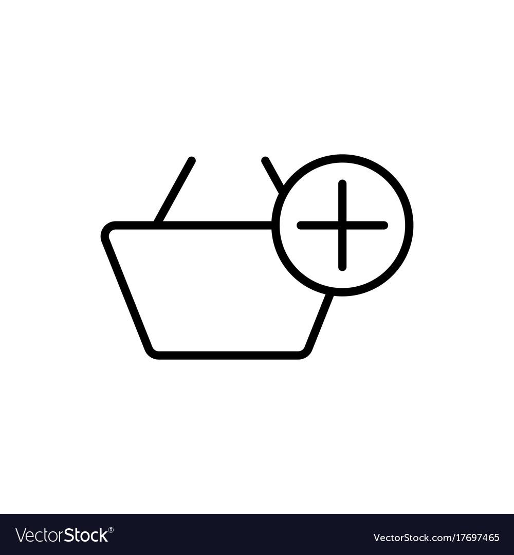 Thin line market basket add icon