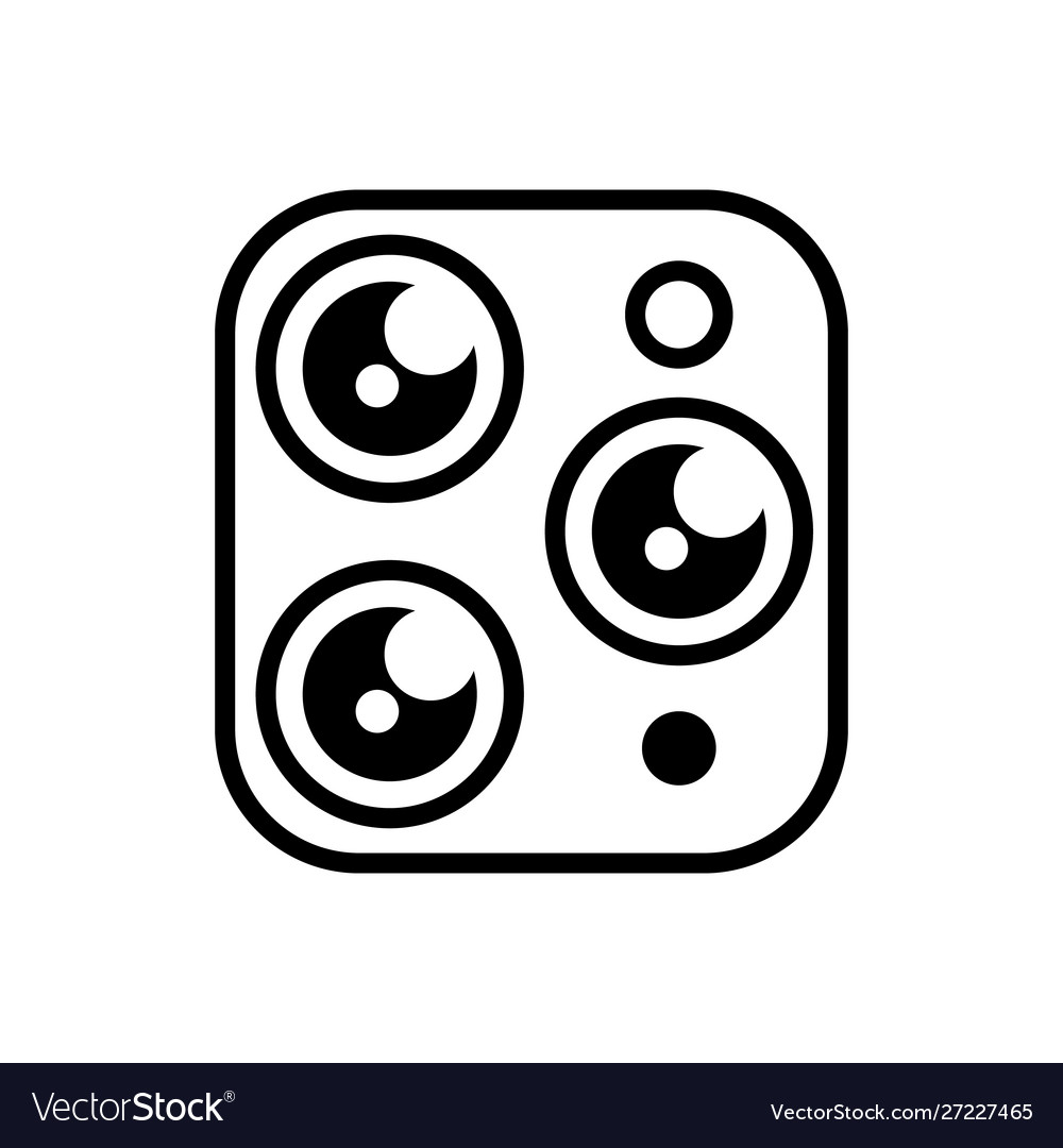 Triple camera simple icon on a white isolated